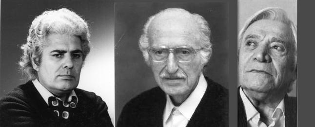 از راست به چپ محمد قاضی - ابوالحسن نجفی - احمد شاملو
