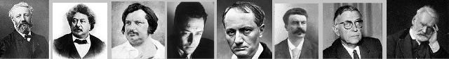 از راست به چپ ویکتور هوگو - ژان پل سارتر - گی دو مو پاسان - شارل بودلر - آلبر کامو - بالزاک - الکساندر دوما - ژول ورن