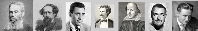 از راست به چپ اسکات فیتز جرالد - ارنست همینگوی - ویلیام شکسپیر - مارک تواین - سالینجر - چالرز دیکنز - هرمان ملویل