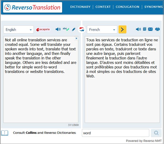 نمونه ترجمه مترجم آنلاین ریورسو برای ترجمه آنلاین متن های خارجی