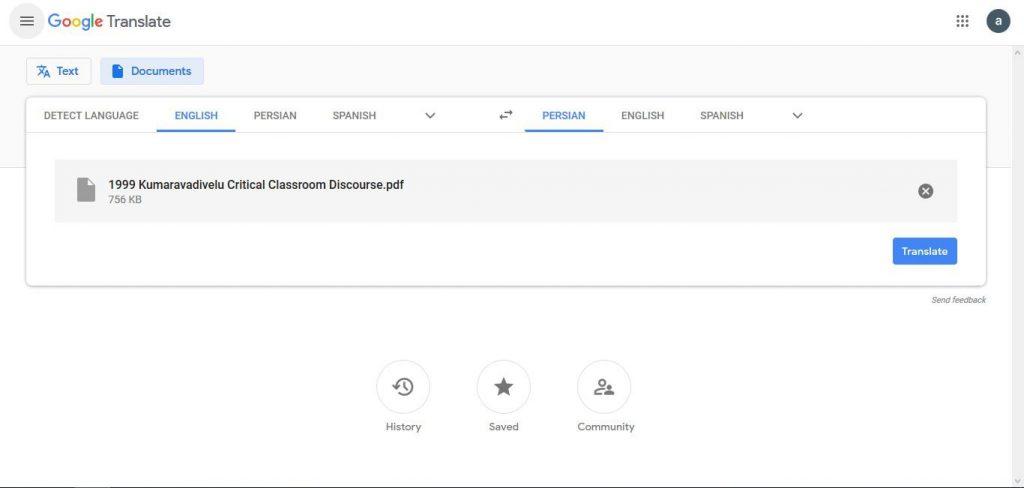 نحوه ترجمه فایل pdf با گوگل مرحله سوم