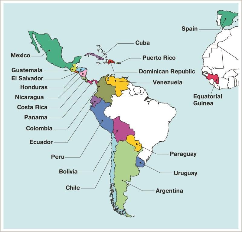 کشورهای اسپانیایی زبان در قاره آمریکا