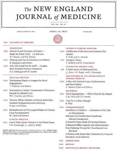 معتبرترین مجله پزشکی دنیا نیوانگلند