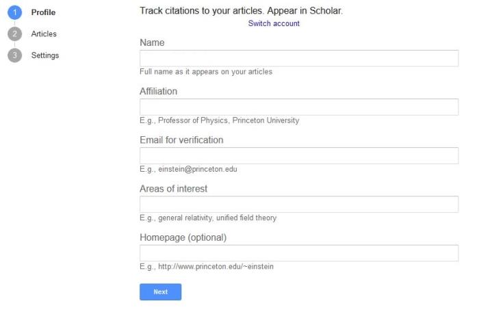 تکمیل پروفایل گوگل اسکولار
