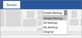 با انتخاب All Markup یا Simple Markup در بخش Tracking در تب Review میتوان تمام نشانهگذاریها را مشاهده کرد.