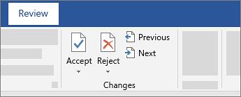 با پذیرفتن یا رد کردن تغییرات میتوانید این نشانهگذاریها را حذف کنید. برای این کار از دکمههای بخش Changes در تب Review استفاده کنید.