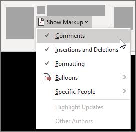 برای مثال، یکی از گزینههای Comments، Insertions و Deletions، یا Formatting را انتخاب کنید. علامت تیک کنار گزینه نشان میدهد که آن گزینه انتخاب شده است.