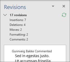 Reviewing Pane به صورت پیشفرض تمام ویرایشهای انجام شده در سند را در قسمت بالا نشان میدهد. برای دیدن تعداد و نوع تغییرات ایجاد شده بر روی فلش رو به پایین کنار تعداد ویرایشها کلیک کنید.