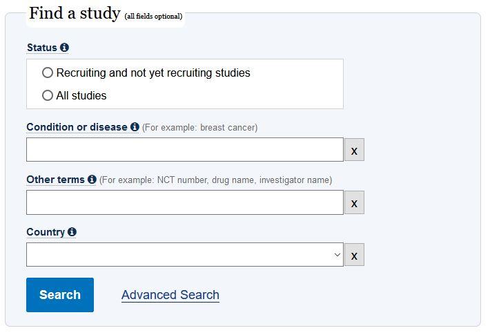 جستجو در clinicaltrails.gov